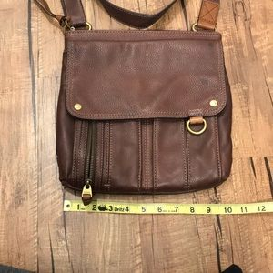 Fossil brown leather handbag with adjustable strap